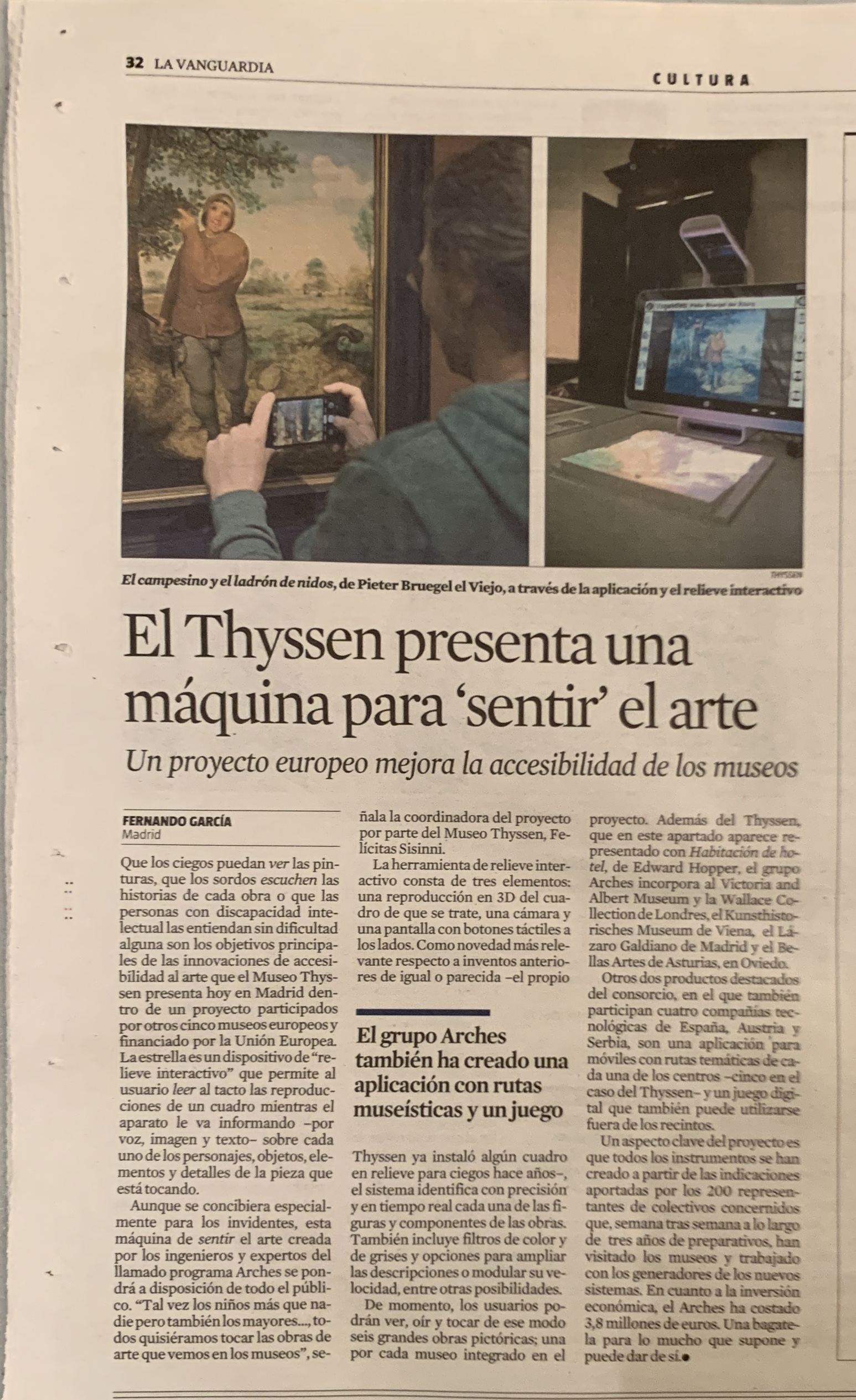 Full page printed article in the second largest newspaper in Spain, on ARCHES Final Event